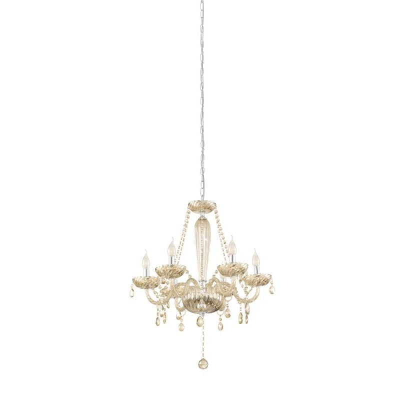 Eglo-39092 - Basilano - Crystal Amber with Chrome 6 Light Chandelier