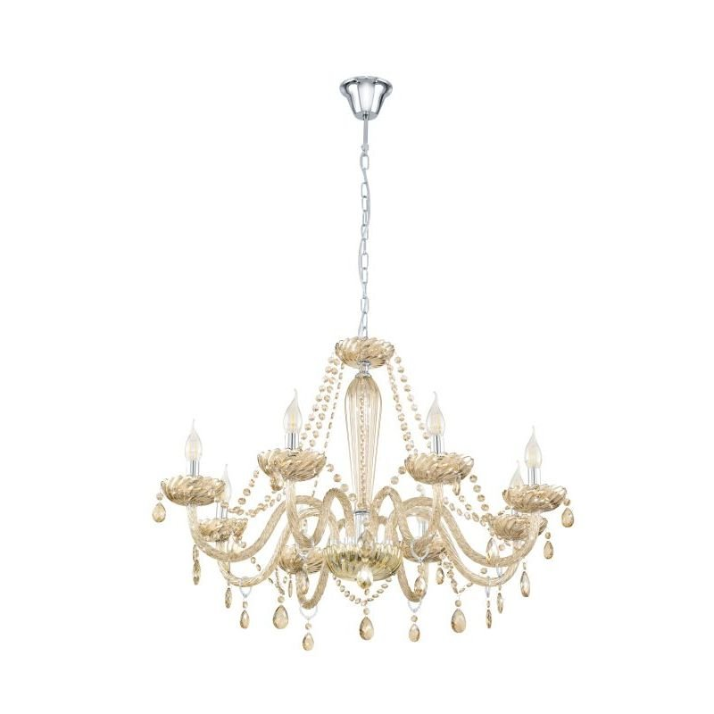 Eglo-39093 - Basilano - Crystal Amber with Chrome 8 Light Chandelier