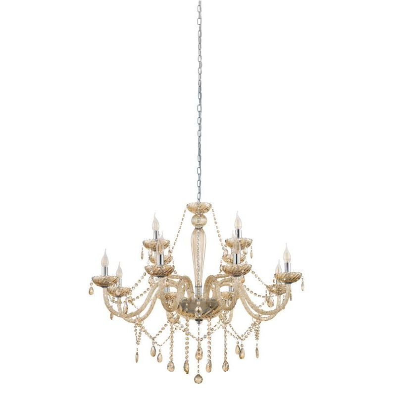 Eglo-39094 - Basilano - Crystal Amber with Chrome 12 Light Chandelier