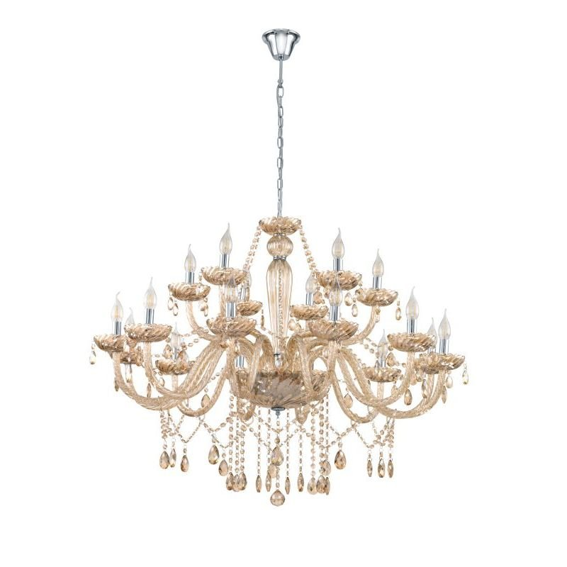 Eglo-39095 - Basilano - Crystal Amber with Chrome 18 Light Chandelier