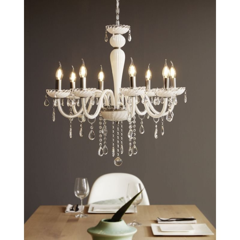 Eglo-39114 - Carpento - White and Transparent Crystal 8 Light Chandelier