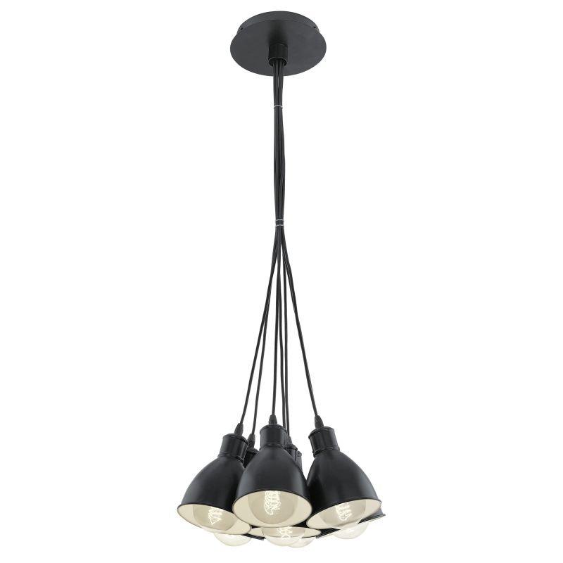 Eglo-49467 - Priddy - Vintage Black Metal 7 Light Cluster Pendant