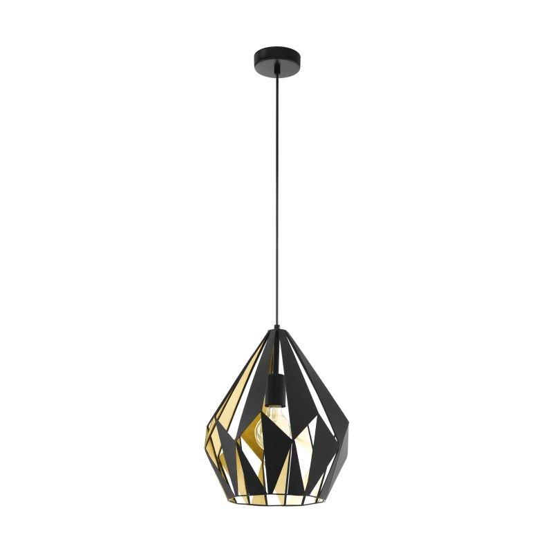 Eglo-49931 - Carlton 1 - Vintage Black & Gold Single Medium Pendant