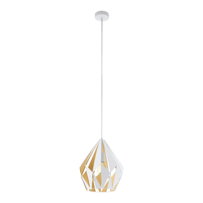 Eglo-49932 - Carlton 1 - Vintage White & Gold Single Medium Pendant