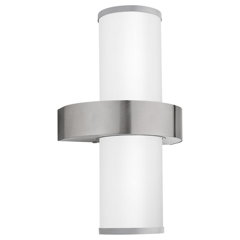 Eglo-86541 - Beverly - Outdoor White Glass & Stainless Steel Wall Lamp