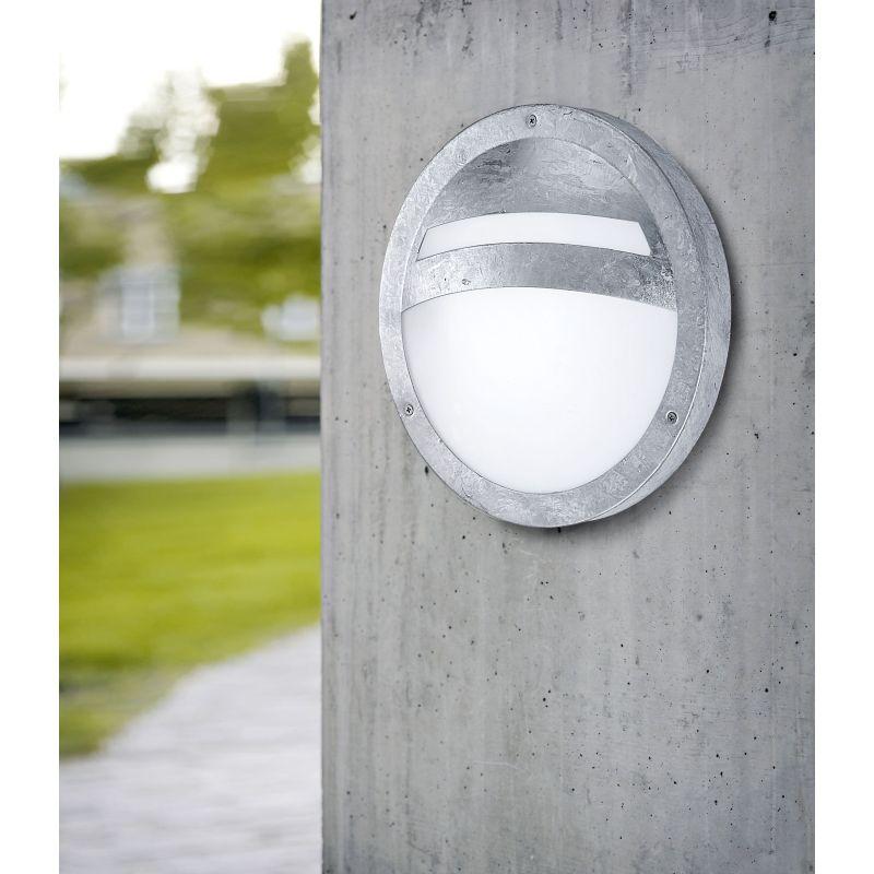 Eglo-88119 - Sevilla - Outdoor White Glass & Silver Bulkhead
