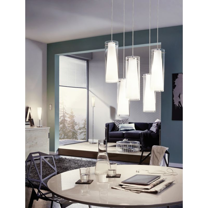 Eglo-89836 - Pinto - Clear & White Glass with Chrome Floor Lamp