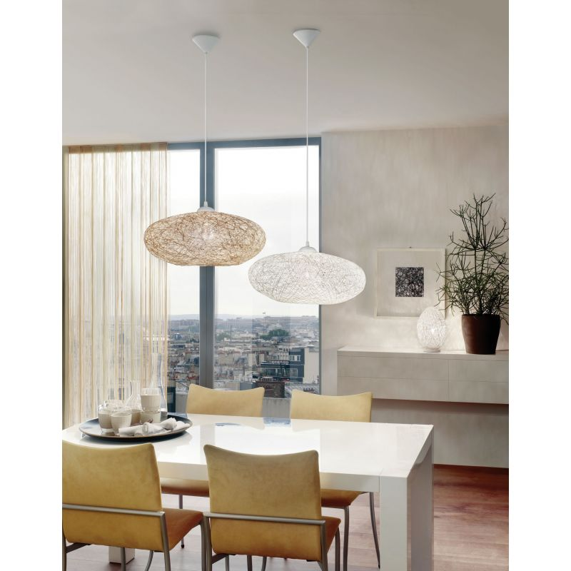Eglo-93373 - Campilo - White Fabric Twisted Single Pendant
