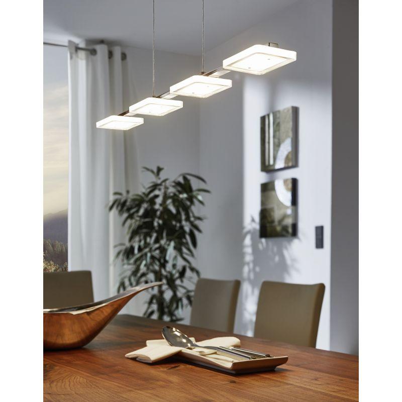 Eglo-94244 - Cartama - LED Clear Diffuser & Chrome 4 Light over Island Fitting