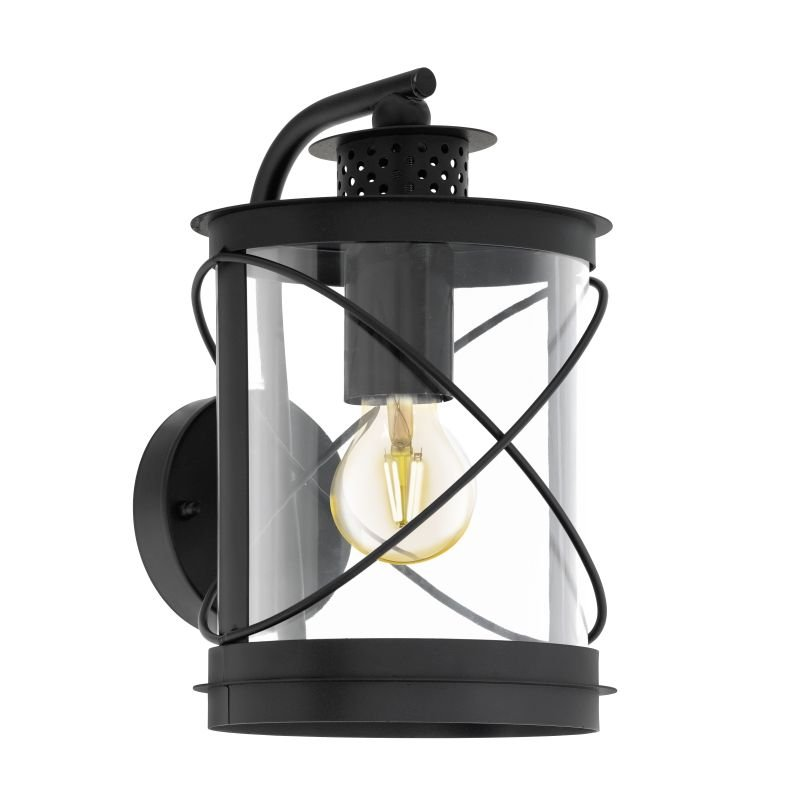 Eglo-94843 - Hilburn - Outdoor Black & Clear Downlight Wall Lamp