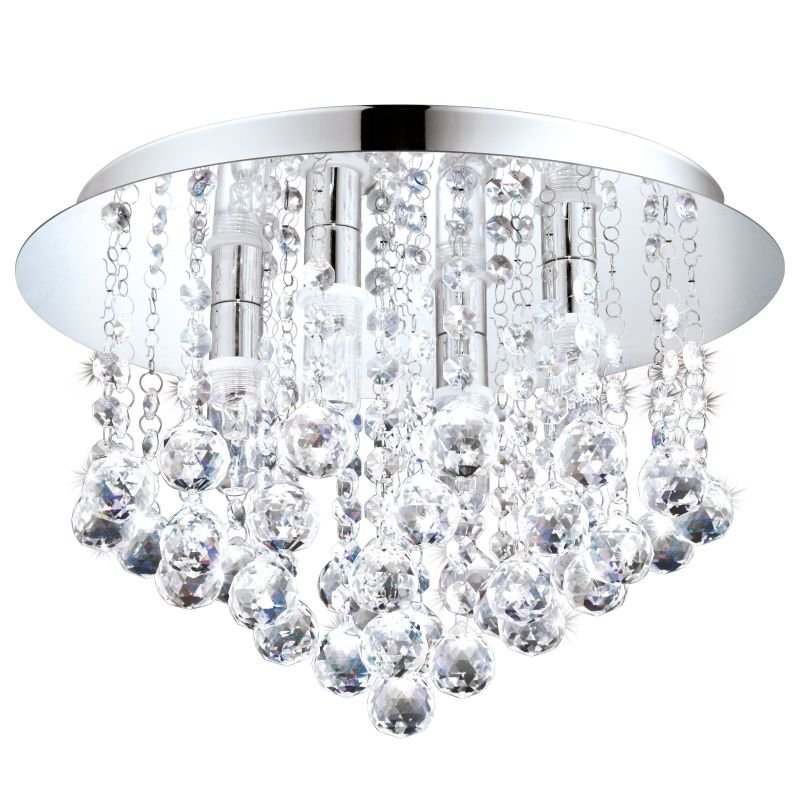 Eglo-94878 - Almonte - Crystal & Chrome 4 Light Ceiling Lamp