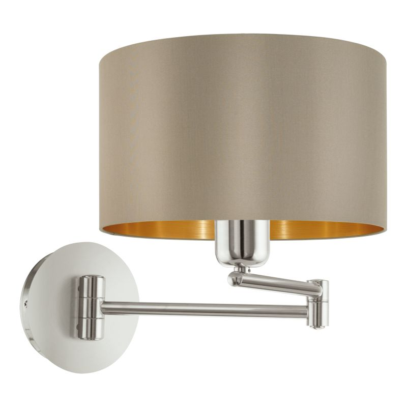 Eglo-95055 - Maserlo - Taupe & Gold with Nickel Wall Lamp
