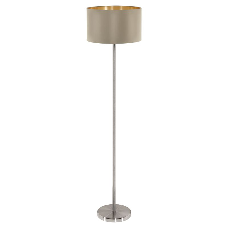 Eglo-95171 - Maserlo - Taupe & Gold with Nickel Floor Lamp