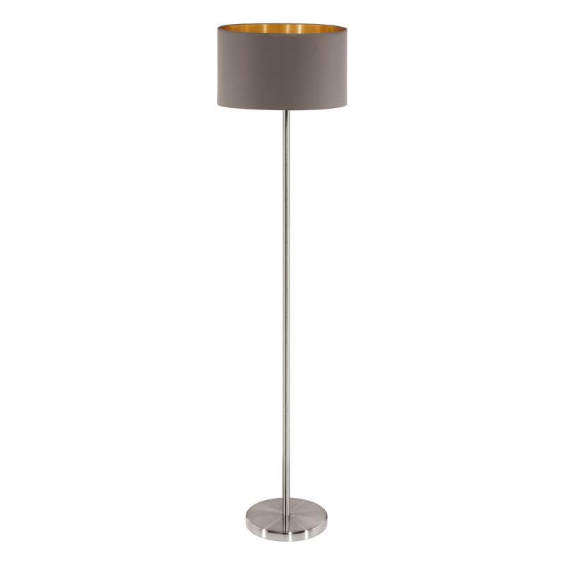 Eglo-95172 - Maserlo - Cappucino & Gold with Nickel Floor Lamp
