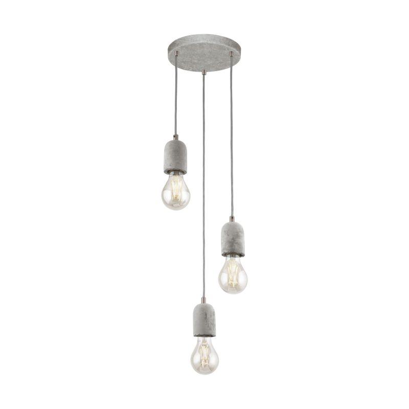 Eglo-95523 - Silvares - Grey Concrete 3 Light Cluster Pendant