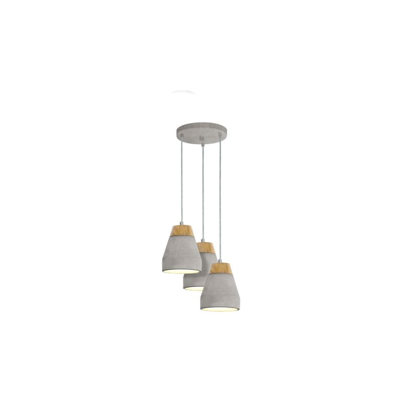 Eglo-95526 - Tarega - Grey Concrete & Wood 3 Light Cluster Pendant