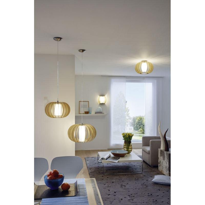 Eglo-95599 - Stellato 1 - Natural Wood and Glass Medium Pendant