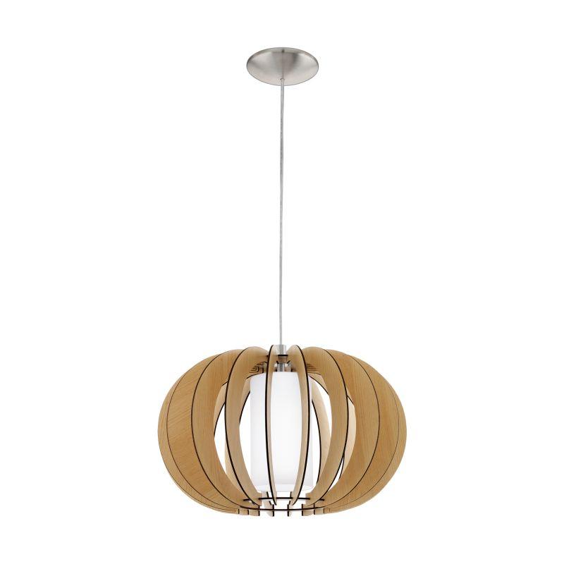 Eglo-95598 - Stellato 1 - Natural Wood and Glass Small Pendant