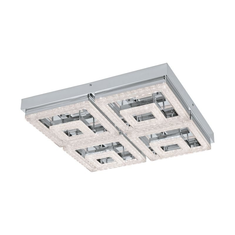 Eglo-95661 - Fradelo - LED Crystal with Chrome 4 Double Light Square Flush