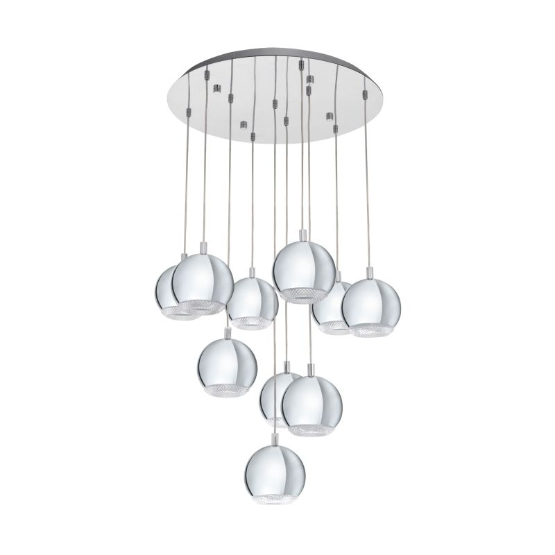 Eglo-95914 - Conessa - Clear & Chrome 10 Light Cluster Pendant