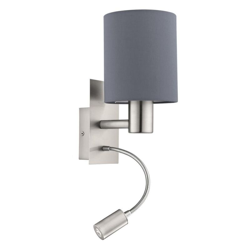 Eglo-96479 - Pasteri - Grey Fabric Mother & Child LED Wall Lamp