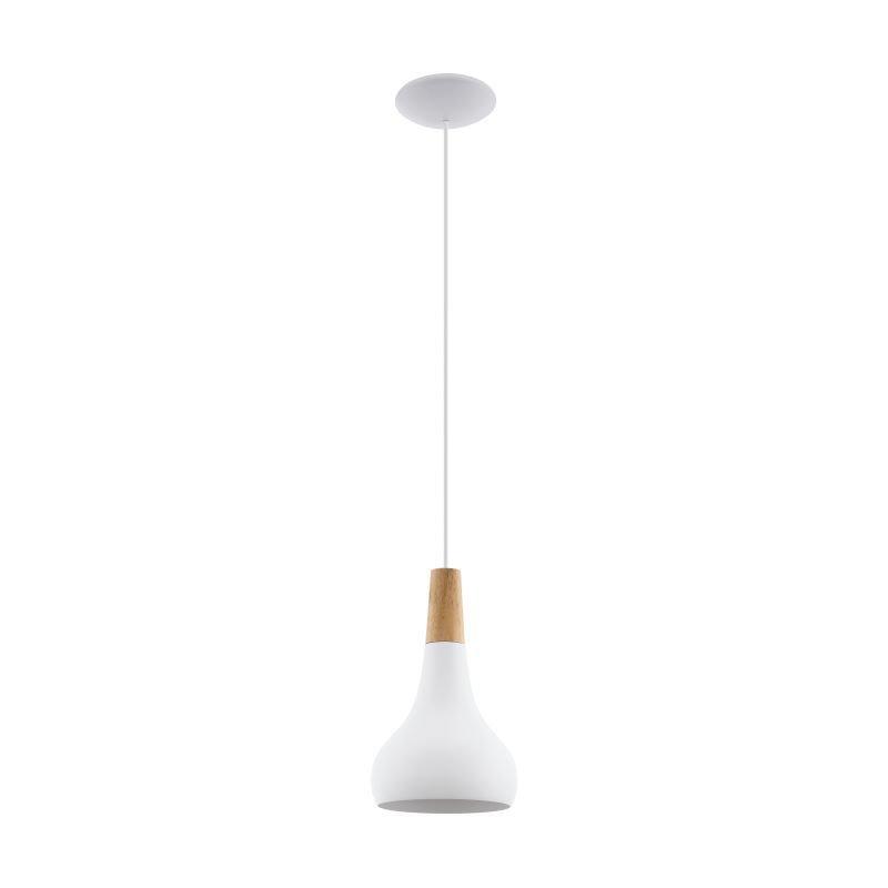 Eglo-96981 - Sabinar - Small White with Wood Detail Single Pendant