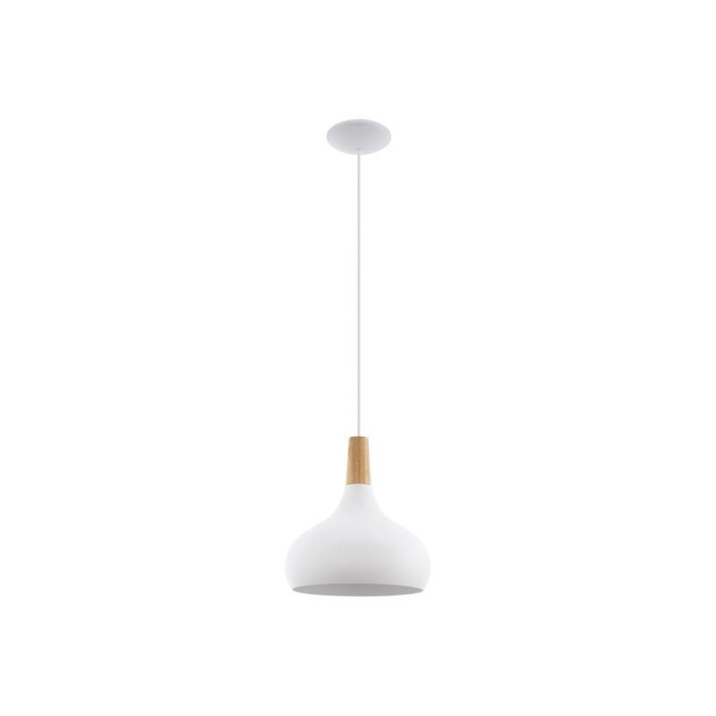 Eglo-96982 - Sabinar - Medium White with Wood Detail Single Pendant