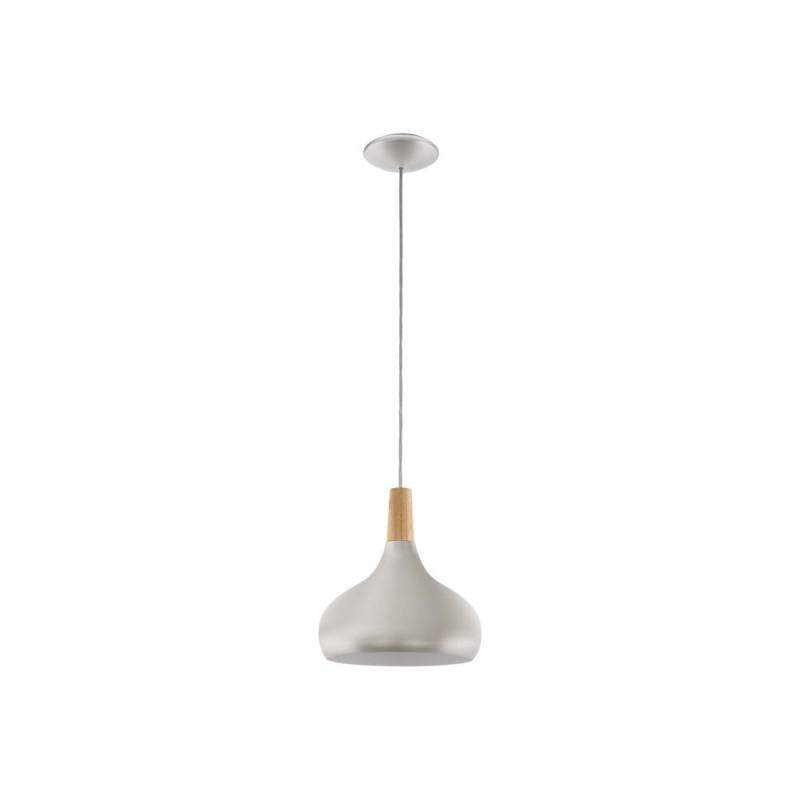 Eglo-96985 - Sabinar - Medium Silver with Wood Detail Single Pendant