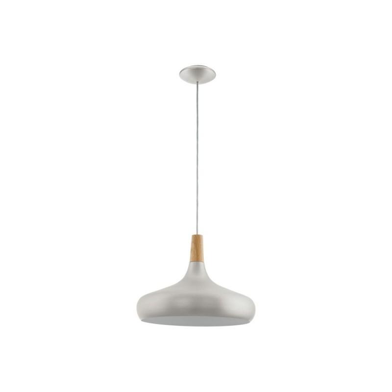 Eglo-96986 - Sabinar - Big Silver with Wood Detail Single Pendant