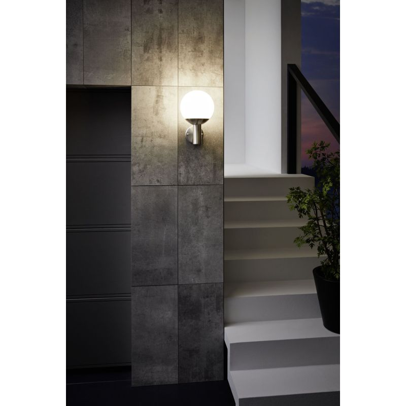 Eglo-97247 - Nisia-C - Outdoor White & Stainless Steel Wall Lamp
