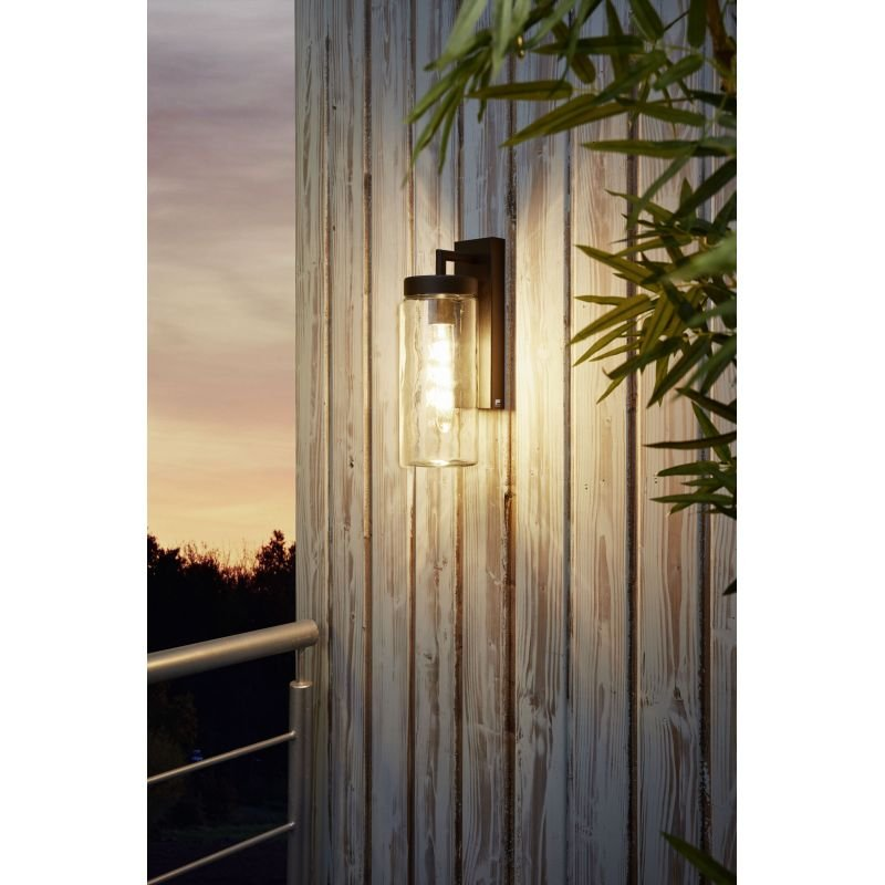 Eglo-97261 - Bovolone - Outdoor Clear Glass with Black Wall Lamp