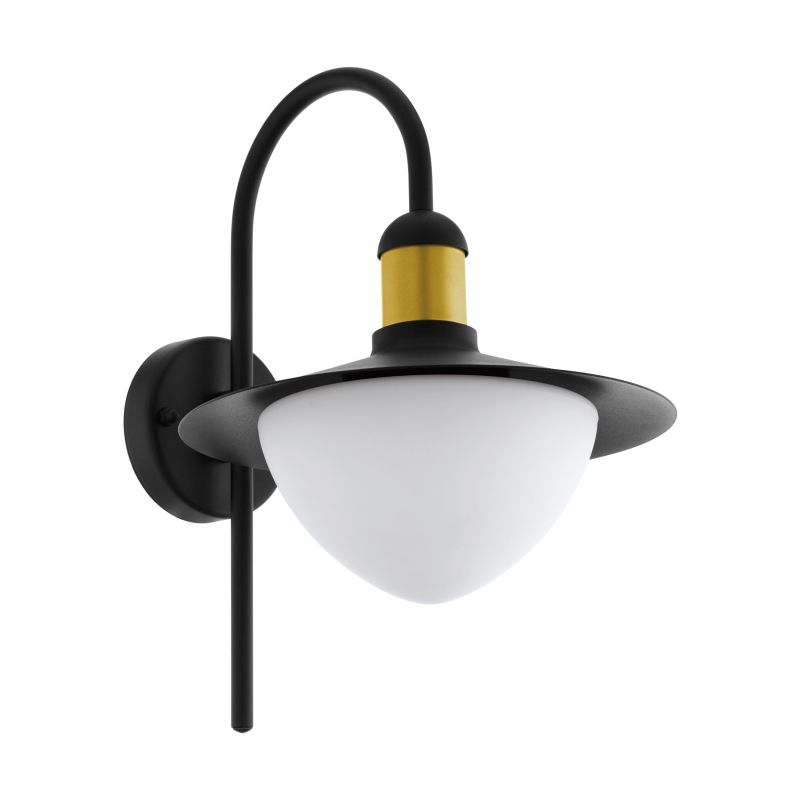 Eglo-97285 - Sirmione - White Glass & Black with Gold Wall Lamp