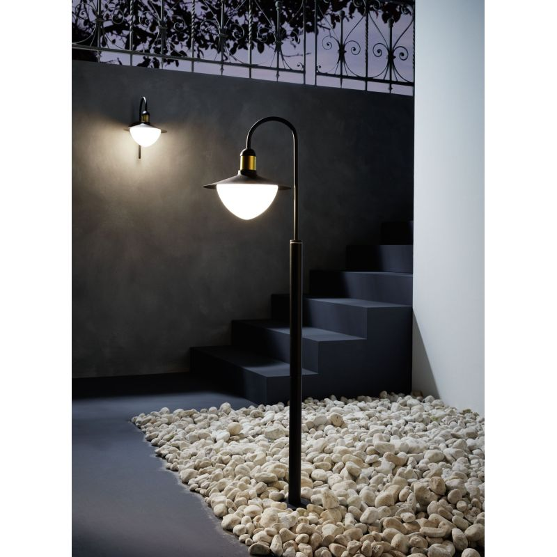 Eglo-97286 - Sirmione - White Glass & Black with Gold PIR Wall Lamp