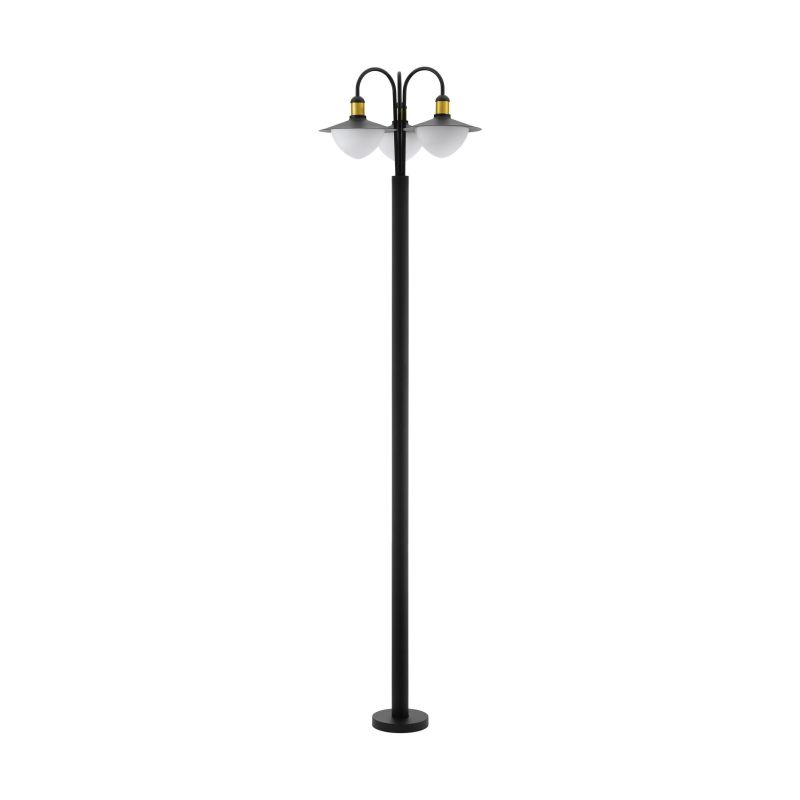 Eglo-97288 - Sirmione - White Glass & Black with Gold 3 Light Post