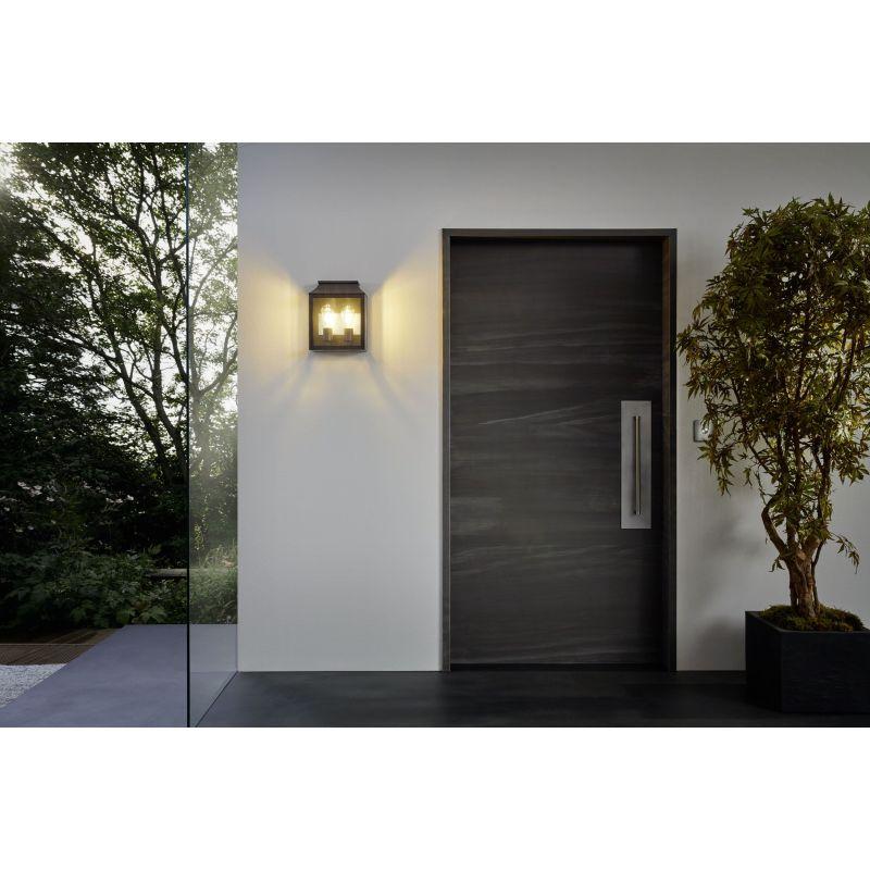 Eglo-97294 - Soncino - Outdoor Clear & Black Twin Lantern Wall Lamp