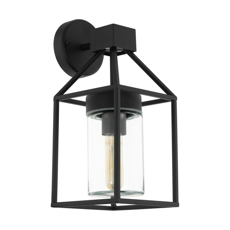 Eglo-97296 - Trecate - Outdoor Clear Glass & Black Wall Lamp