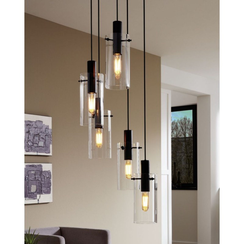 Eglo-97367 - Montefino - Clear Glass with Black 3 Light over Island Fitting