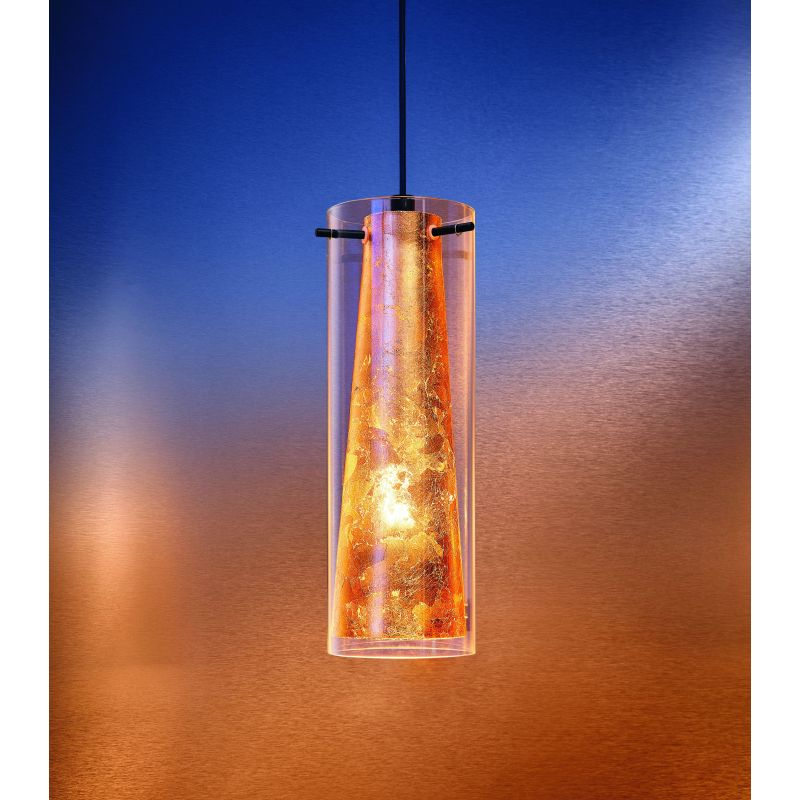 Eglo-97651 - Pinto Gold - Clear & Gold Glass with Black Single Pendant