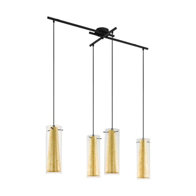 Eglo-97653 - Pinto Gold - Clear & Gold Glass with Black 4 Light over Island Fitting