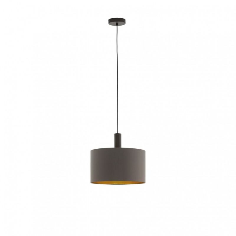 Eglo-97682 - Concessa 1 - Cappuccino & Gold Drum Shade Single Pendant