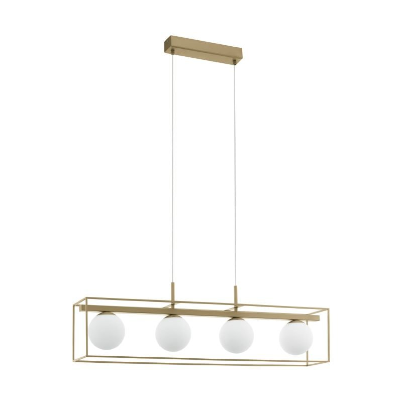Eglo-97793 - Vallaspra - Opal Glass with Champagne 4 Light over Island Fitting