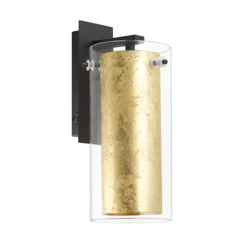 Eglo-97839 - Pinto Gold - Clear & Gold Glass with Black Wall Lamp