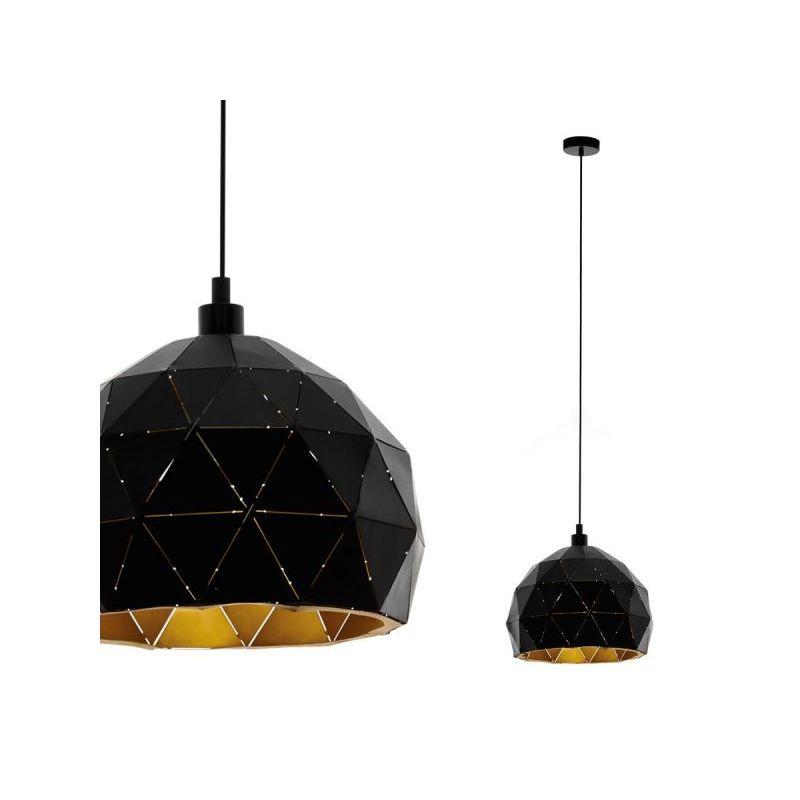 Eglo-97845 - Roccaforte - Black and Gold Medium Single Pendant