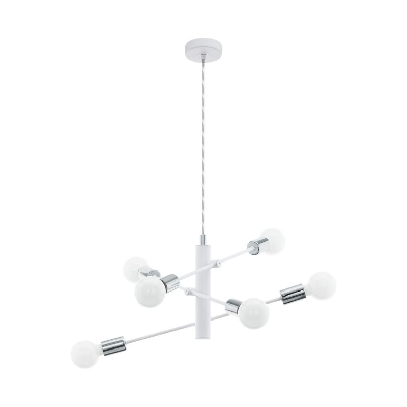 Eglo-98016 - Gradoli - White & Chrome 6 Light Centre Fitting