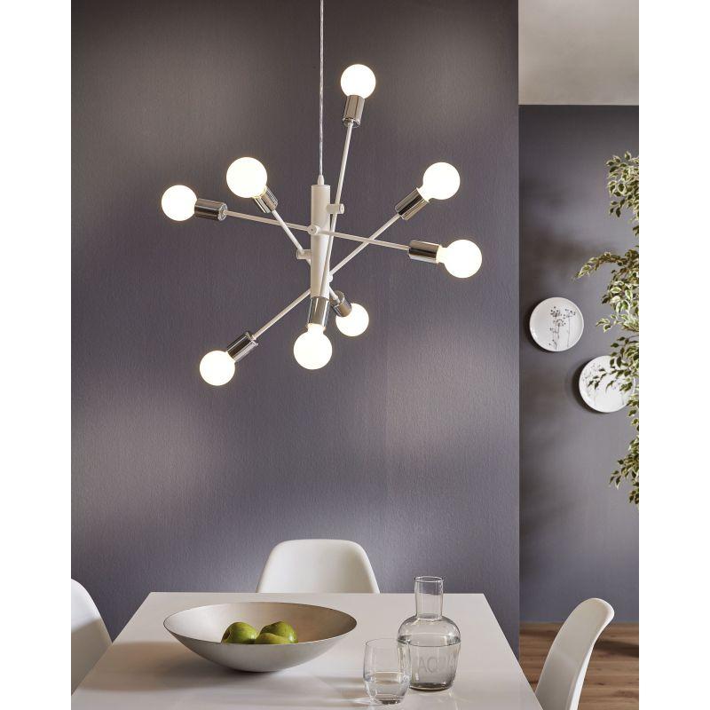 Eglo-98017 - Gradoli - White & Chrome 8 Light Centre Fitting