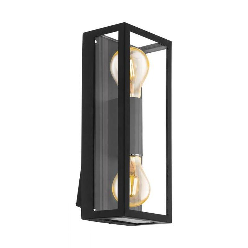 Eglo-98273 - Alamonte 1 - Outdoor Black Lantern Twin Wall Lamp