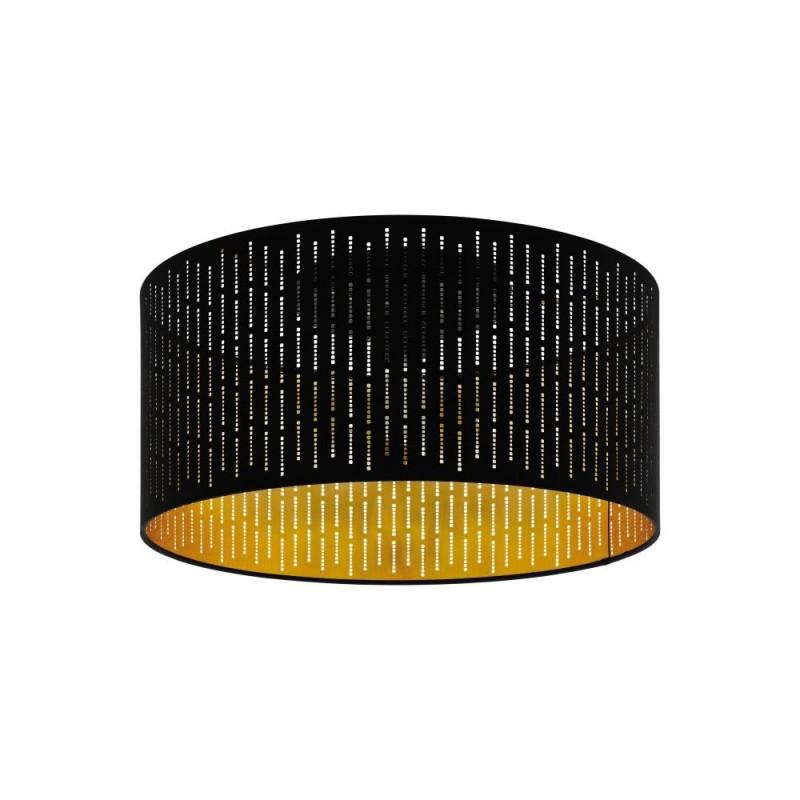 Eglo-98311 - Varillas - Black & Gold Drum Shade Single Flush