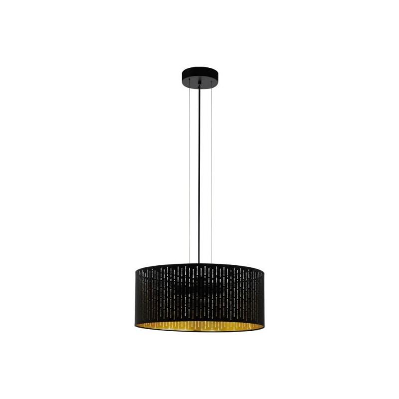 Eglo-98313 - Varillas - Black & Gold Drum Shade 3 Light Pendant