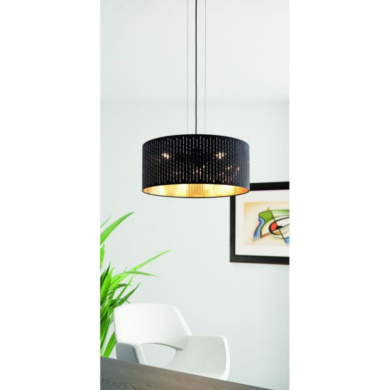 Eglo-98312 - Varillas - Black & Gold Drum Shade Pendant