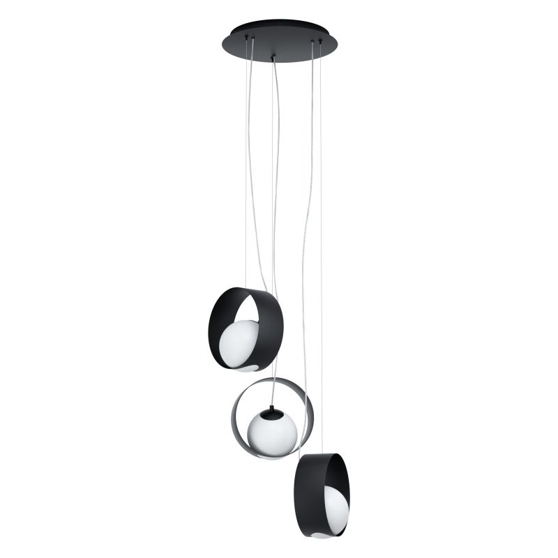Eglo-98441 - Camargo - Black & White Globe 3 Light Cluster Pendant
